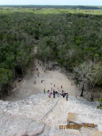 Mayan Riviera Tours- Day Tours:                   looking down from the top of Coba
