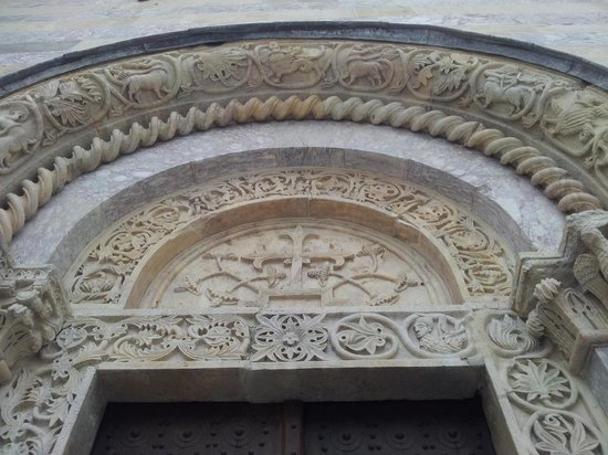 Visoki Decani Monastery: This is the north portal which does not have any human depictions except a flowering cross