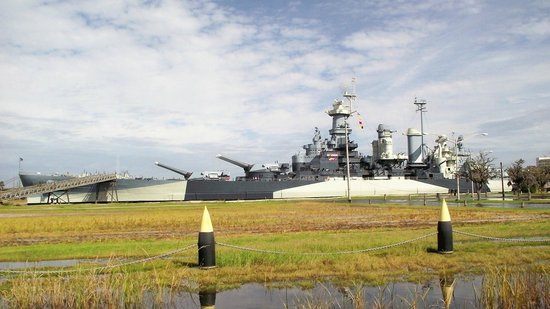 Battleship NORTH CAROLINA: View of the ship from the aproach road