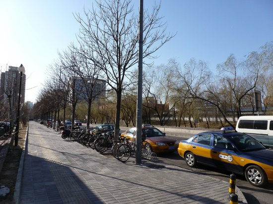 Crowne Plaza Beijing Sun Palace:                   Street in front of hotel with taxis waiting