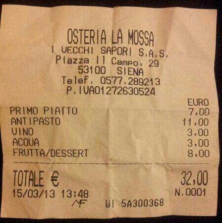 Osteria La Mossa: L'ottimo pranzo di oggi...