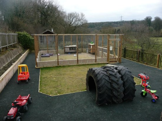 Knowle Farm:                                     The new tractor/ride on area, with rabbit and guinea pig enc