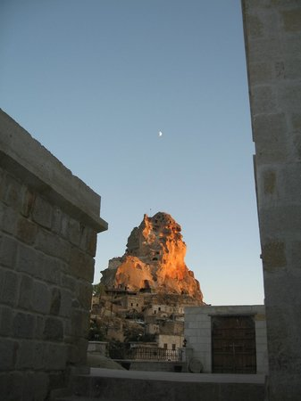 Dreams Cave Cappadocia:                                     Ortasahir Fortress from outside our room at the Cave Deluxe