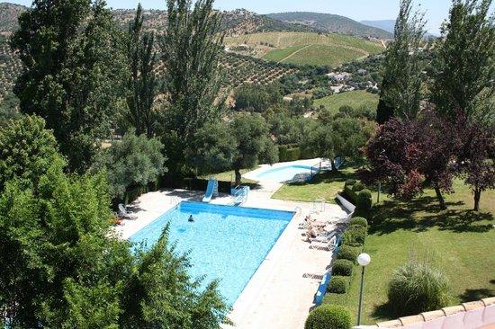 Vista de la piscina desde la habitación doble de Hotel Del Carmen