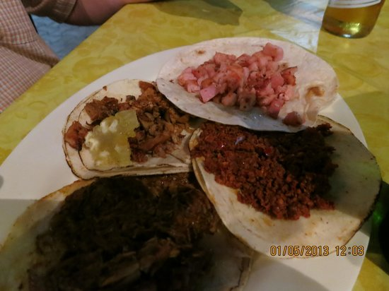 Taqueria Medina: chopped pork, chorizo, al pastor and barbacoa tacos