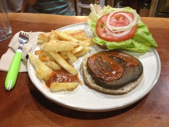 Luv Burger with yucca fries