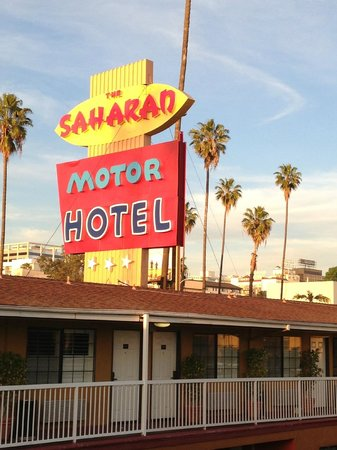 Saharan Motor Hotel:                   Hotel Sign from our balcony