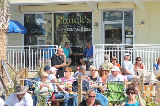 Chuck's Last Stop:                                     Watching the Shrimp Festival from Chucks Last Stop