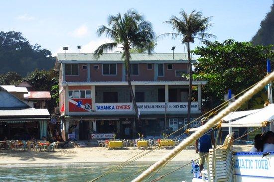 Ogie Beach Pension & Resto Bar :                   OG's beach front