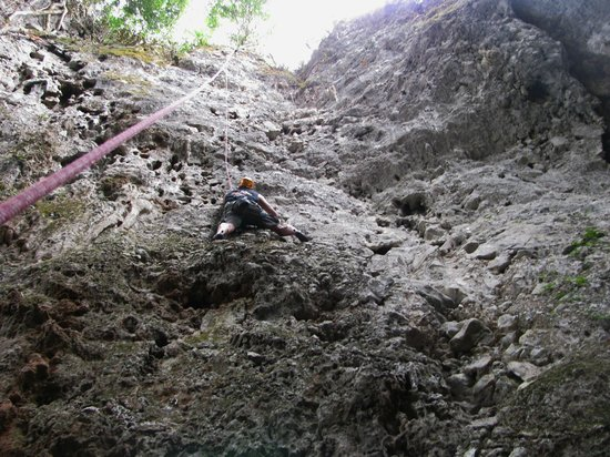 Adam's Rock climbing school : On one of my first climbs of the trip