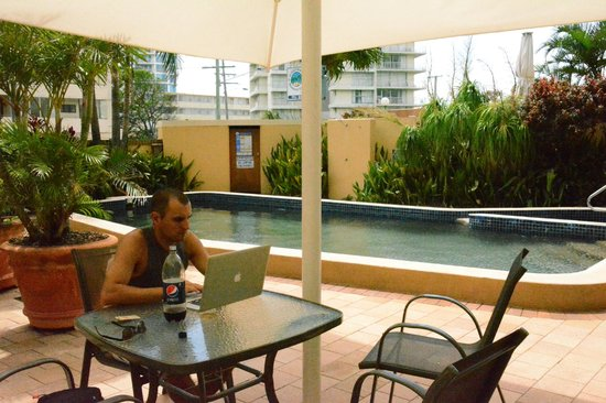 Hi Ho Beach Apartments:                   Working by the pool