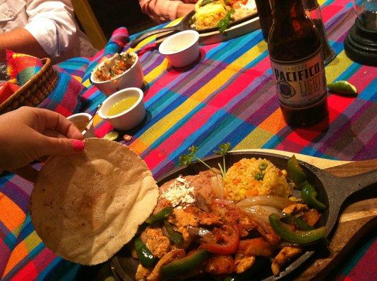 Pancho's Restaurant & Tequila Bar:                   Chicken Fajitas and fresh tortillas