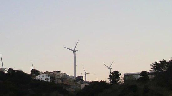 Kotobukiso: お部屋の窓から見える風力発電です。