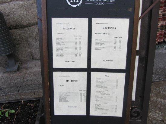 Bar Restaurante Ludena: Меню