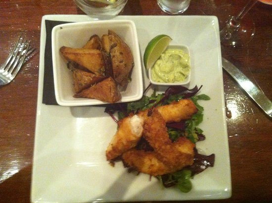 Green Park Brasserie:                   Monkfish goujons (already started!) piping hot and delicious!