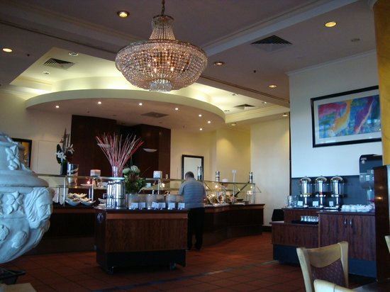 Stamford Grand Adelaide:                   Restaurant set up for buffet breakfast