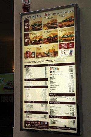 Burger King Menu Picture Of Burger King Vienna Tripadvisor