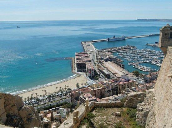 Castle of Santa Barbara: the city beach with the port