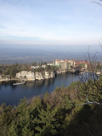 Mohonk Mountain House:                   The view from the lighthouse to the hotel