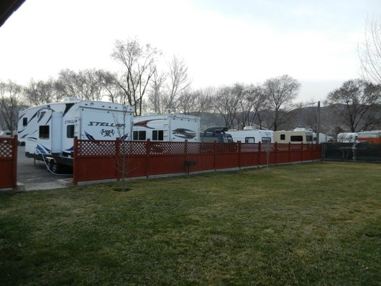 Mountain Shadows RV Park:                   Curbside parking very tight spacing between rigs