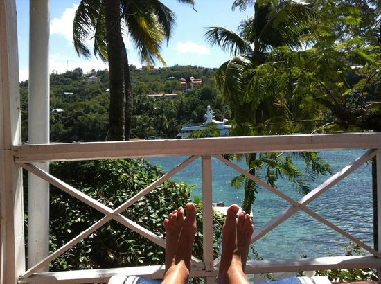 Marigot Beach Club and Dive Resort:                   Relaxing on the terrace