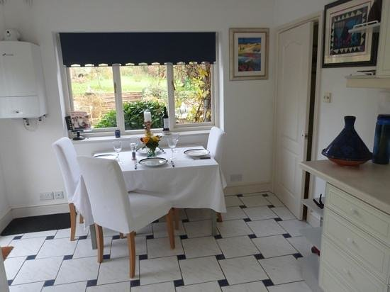 Dining area for up to 4, in the kitchen of Spinney House