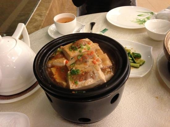 Bishuiwan Hot Spring Holiday Inn: one of their signature dishes: tofu with soya bean and sth like that