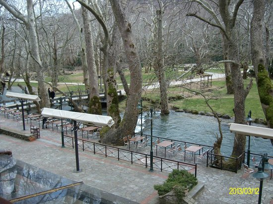 Vermio Hotel: view of outside cafe and river