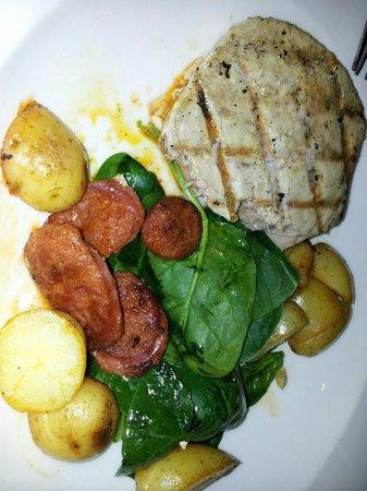 Tuna with chorizo potatoes