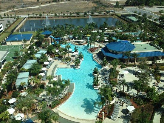 ฮิลตั้น ออแลนโด้ ออเรนจ์ คันทรี่ คอนเว็นชั่น เซ็นเตอร์: View of the pool from my room