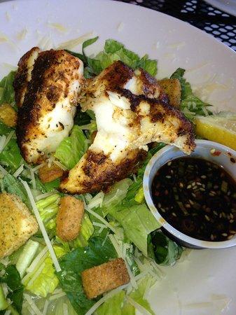 Tortuga's Seafood Restaurant:                   Blackened grouper Caesar salad