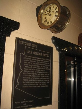 Hotel San Carlos:                   Lobby clock between elevators