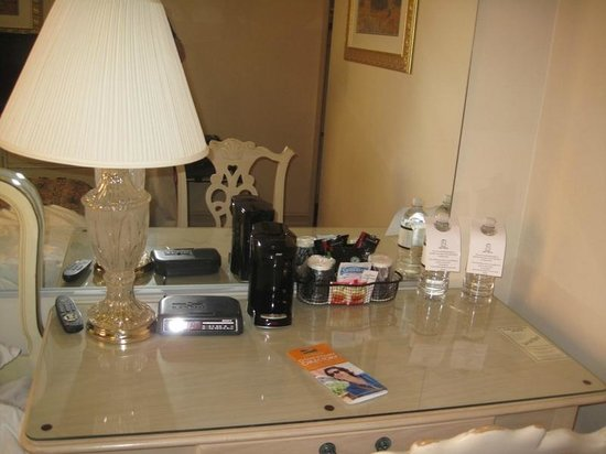 Hotel San Carlos:                   Coffee maker (free) and bottled water (fee)