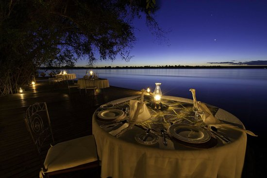 Tongabezi Lodge: Dinner by the river at sunset