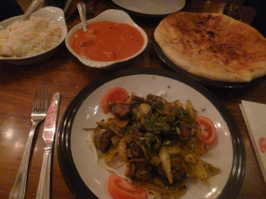 Hot Chilli Indian Restaurant: from left to right. Pilau rice, tikka masala, lamb banger, chilli naan :)