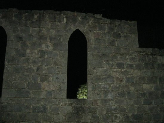 The Monarch Hotel & Church Ruin:                   Part of the ruin at night
