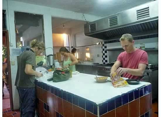 Hostel Sheck: Large, Industrial Kitchen for our Guests to Use