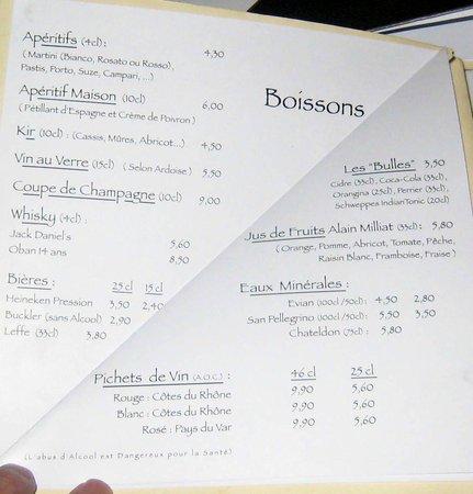 L'Archange: beverage list