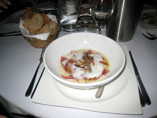 L'Archange: salsify velouté with Serrano ham and Parmesan