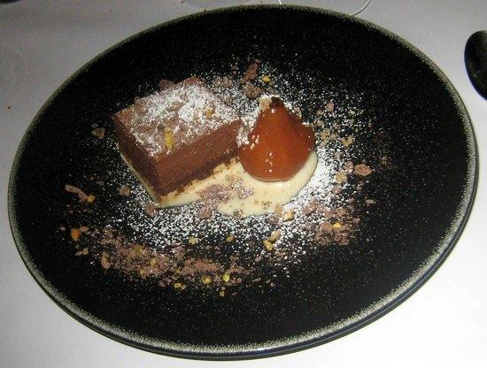 L'Archange: delicious chocolate cake with poached pear