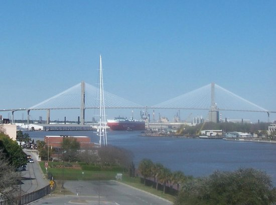 Savannah Marriott Riverfront: View from my 5th floor room!  If this is a