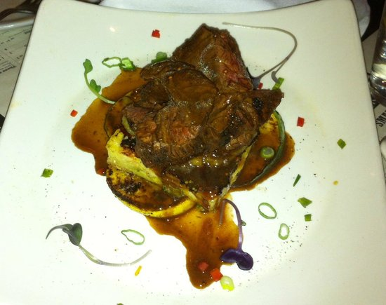 Ember Woodfire Grill: Hange Steak over a delicious vegetable type French toast & grilled squash