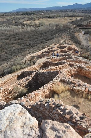 Tuzigoot National Monument: From high point, looking down the hill at the remnants of room walls