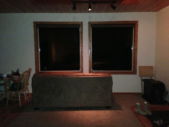 Aurora Borealis Lodge: looking out windows to the north from the bed. northern lights didn't show on the phone pics