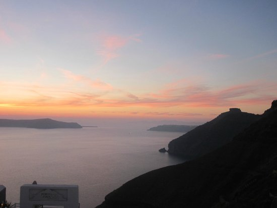 Santorini Reflexions Volcano:                   From my balcony, caldera at sunset