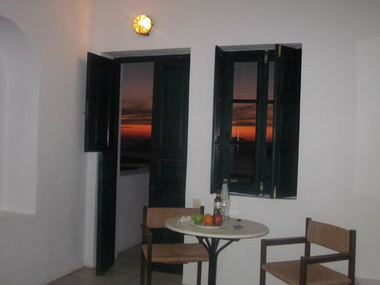 Santorini Reflexions Volcano:                   Family Room Suite, dramatic sunset outside