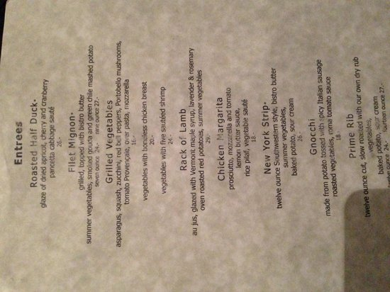 Coronado Room Grand Canyon Menu