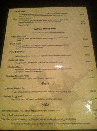 Porto Bello Bar & Grill: pizza menu