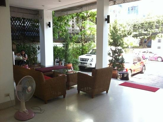 Baan Silom Soi 3:                   Outside patio of apartment. Very spacious urban oasis. Very quiet at night, bu