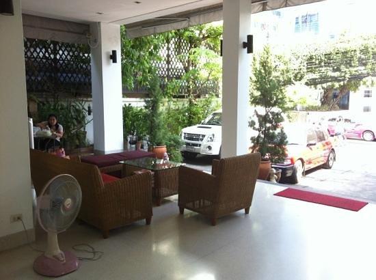 Baan Silom Soi 3:                   Outside patio of apartment. Very spacious urban oasis. Very quiet at night, bu